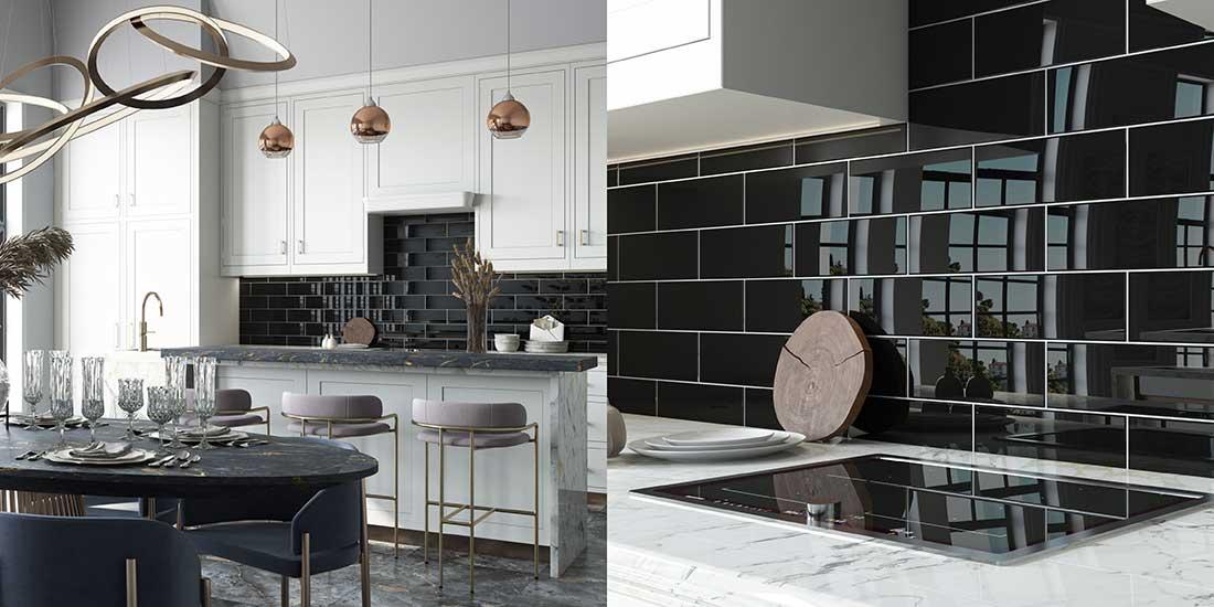 Black Tiles on a Kitchen Backsplash