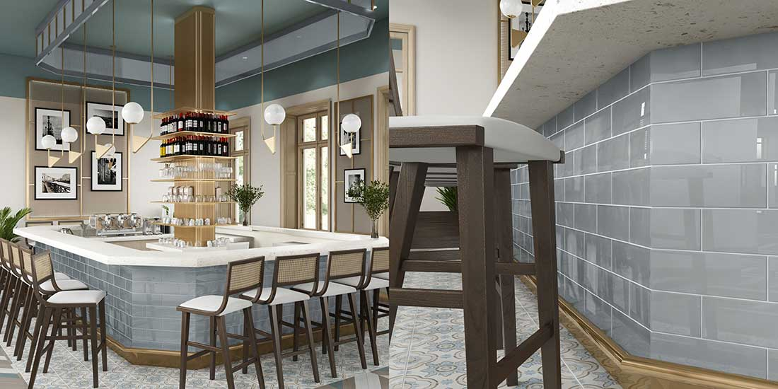 Bar fitted with Giorbello Tile
