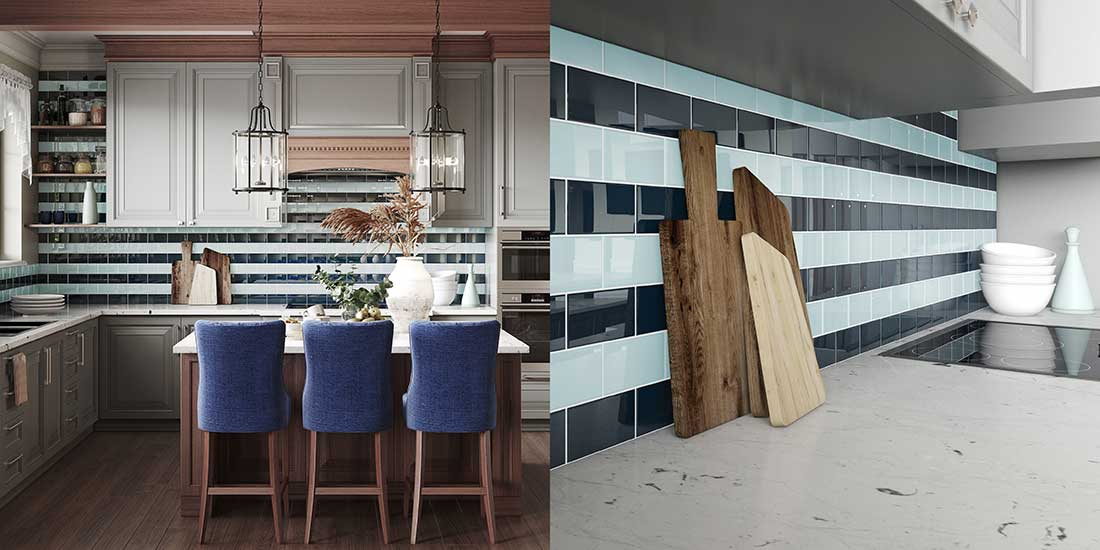 Glass Subway Tiles in a Kitchen