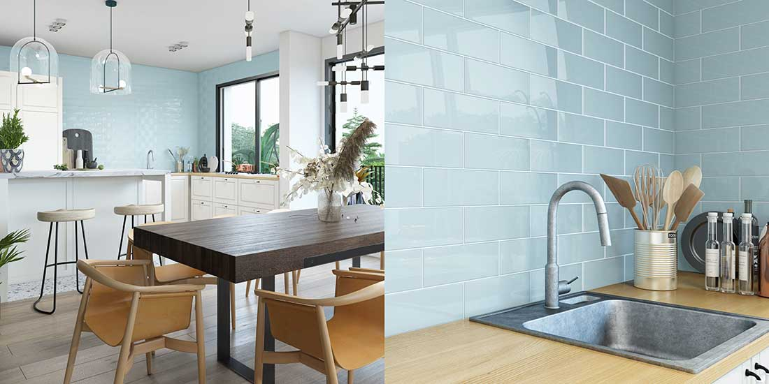 Blue Tiles in a Kitchen