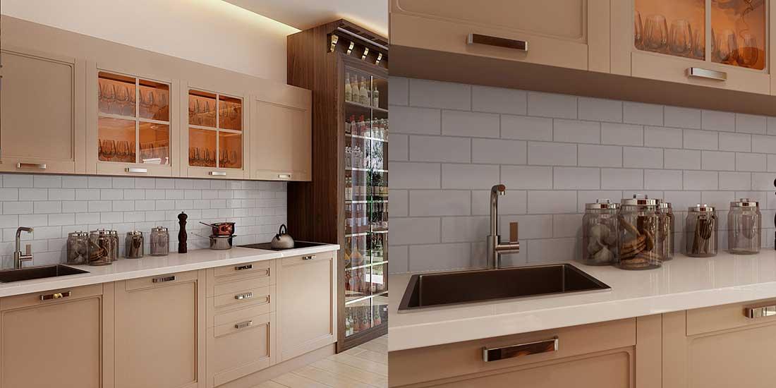 White Tiles on a Kitchen Backsplash