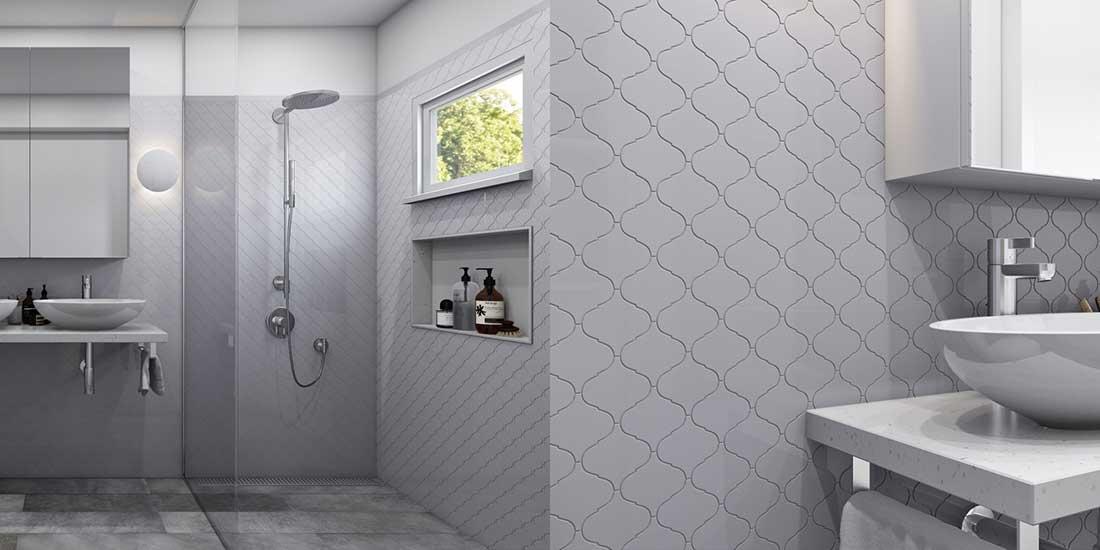 White Arabesque Tiles in a Bathroom
