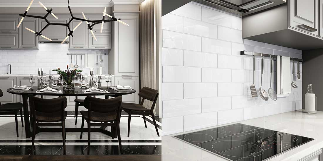 Bright White Glass Tiles