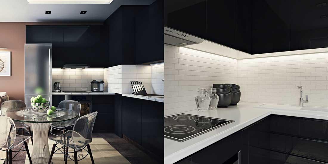 Kitchen Backsplash with White Tile